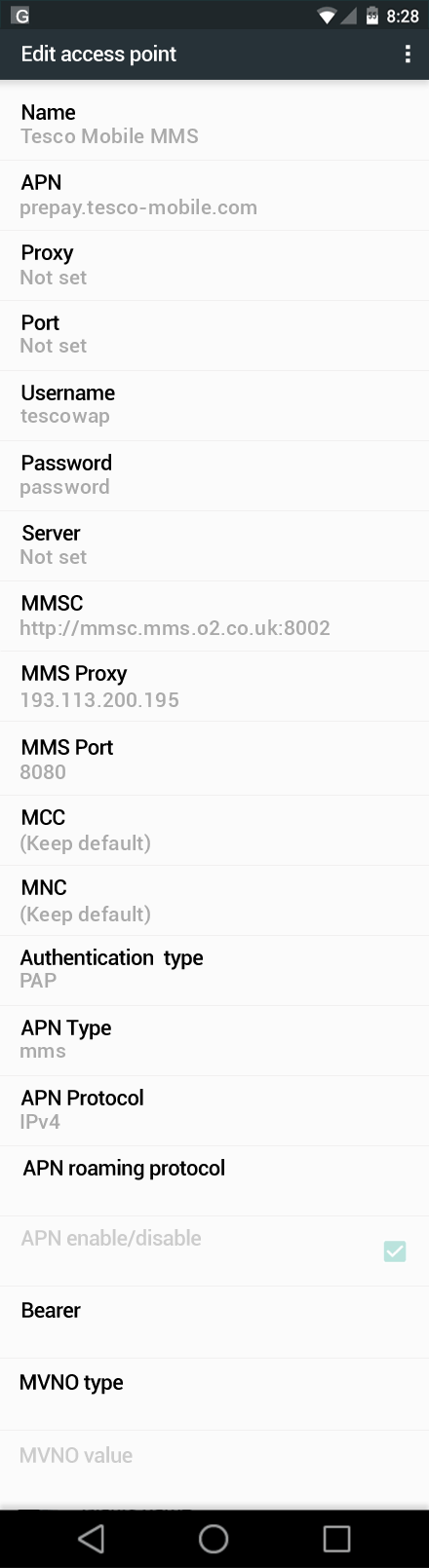 Tesco Mobile MMS APN settings for Android Nougat screenshot