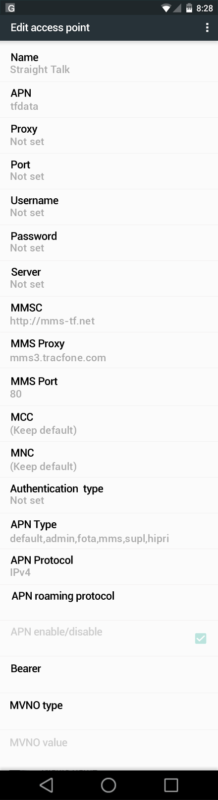 Straight Talk  APN settings for Android Nougat screenshot