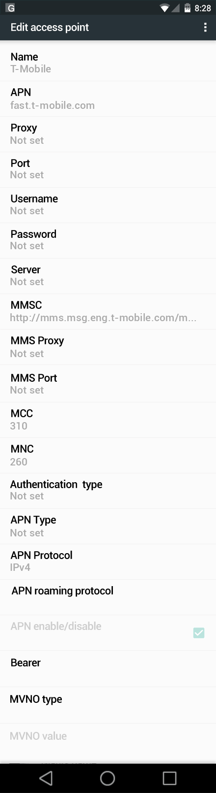T-Mobile  APN settings for Android Nougat screenshot