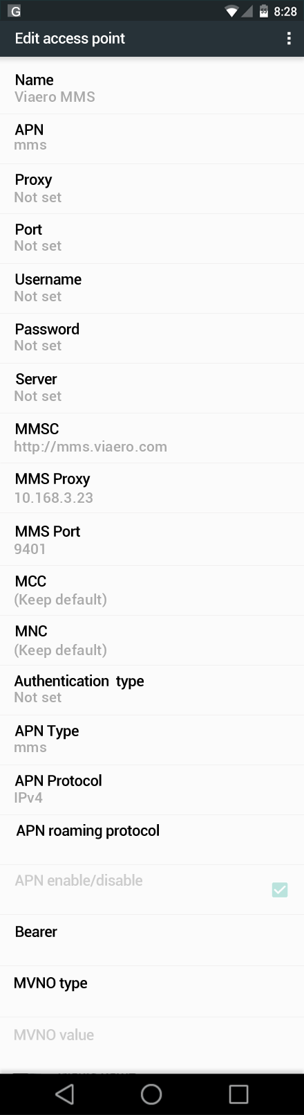Viaero MMS APN settings for Android Nougat screenshot