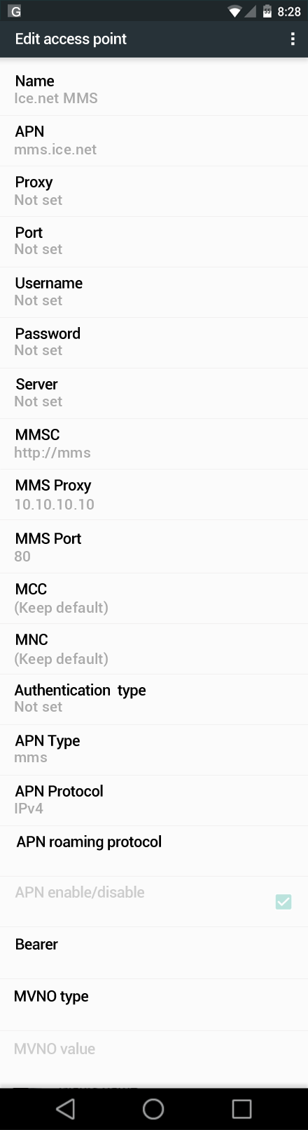 Ice.net MMS APN settings for Android Marshmallow screenshot