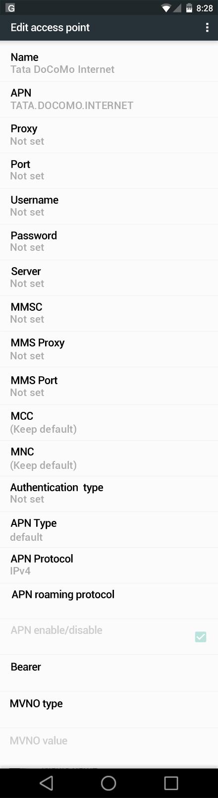 Tata DoCoMo Internet APN settings for Android Nougat screenshot