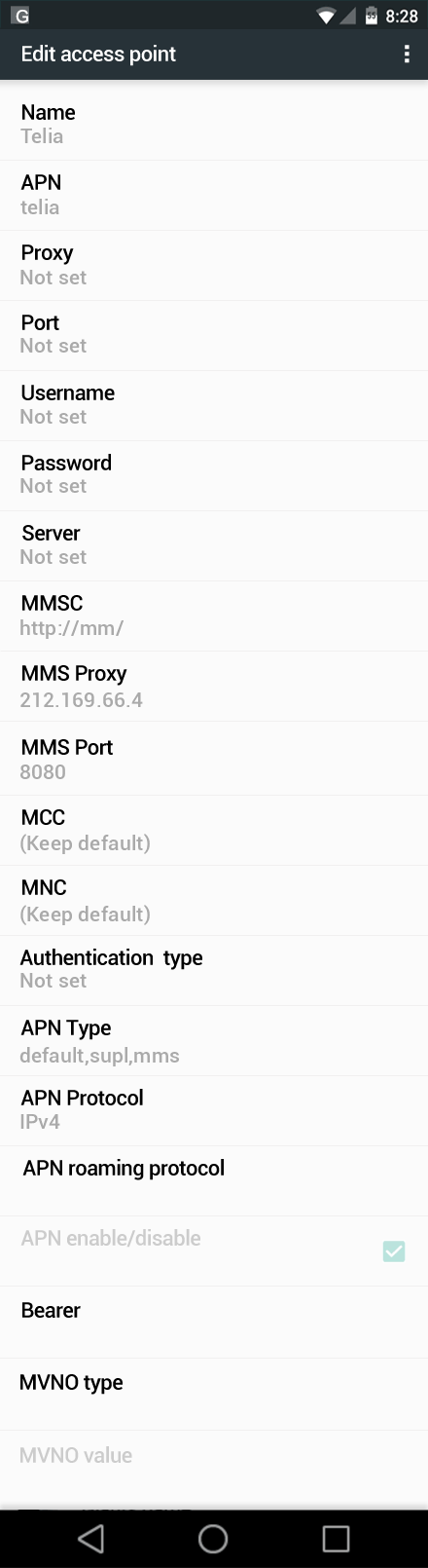Telia  APN settings for Android Nougat screenshot