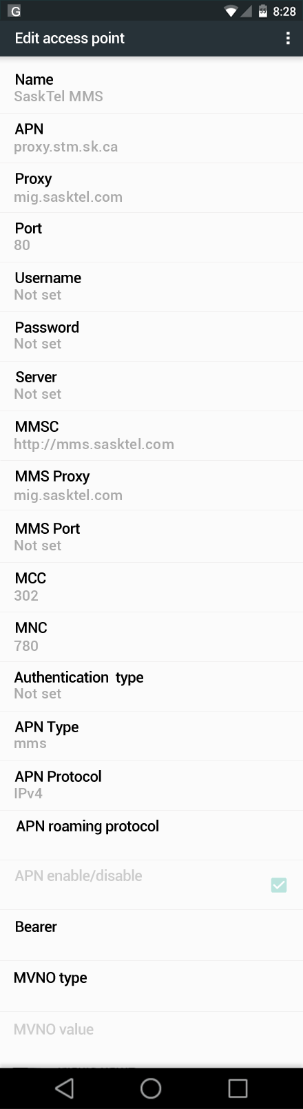 SaskTel MMS APN settings for Android Marshmallow screenshot