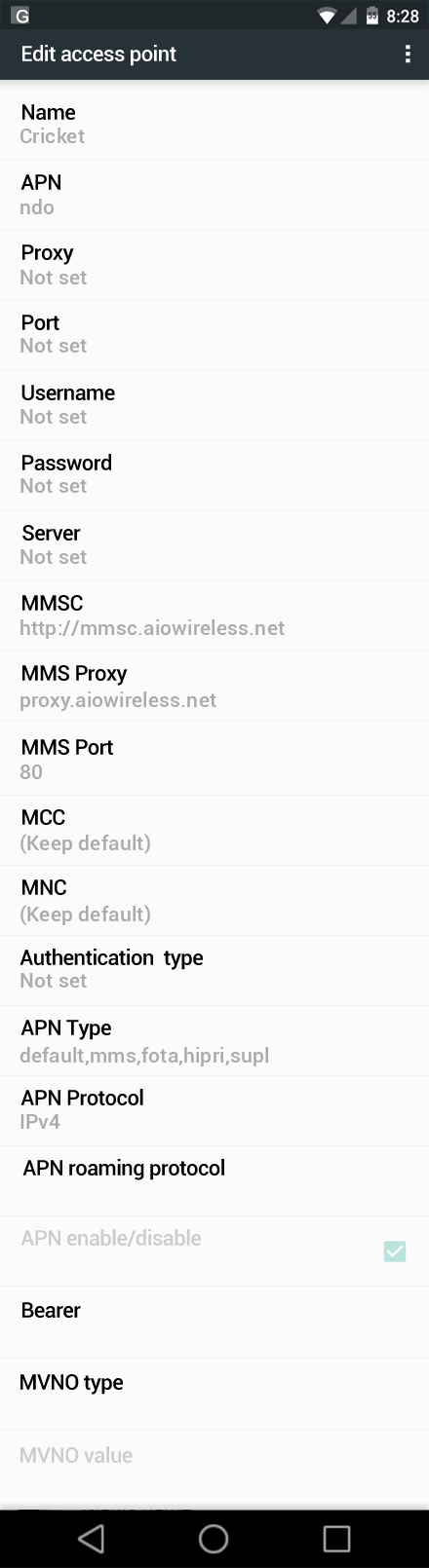 Cricket  APN settings for Android Marshmallow screenshot
