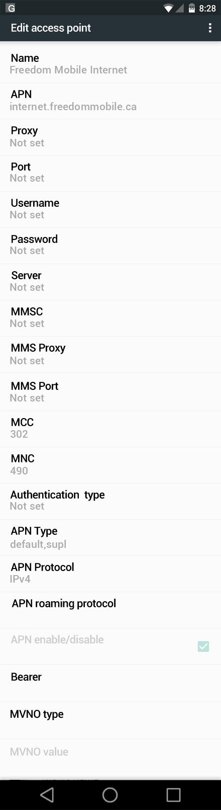 Freedom Mobile Internet APN settings for Android Marshmallow screenshot