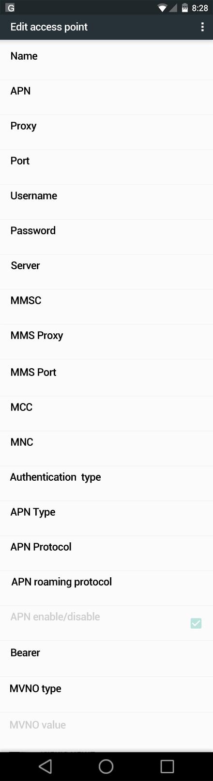 Uninor  APN settings for Android Marshmallow screenshot