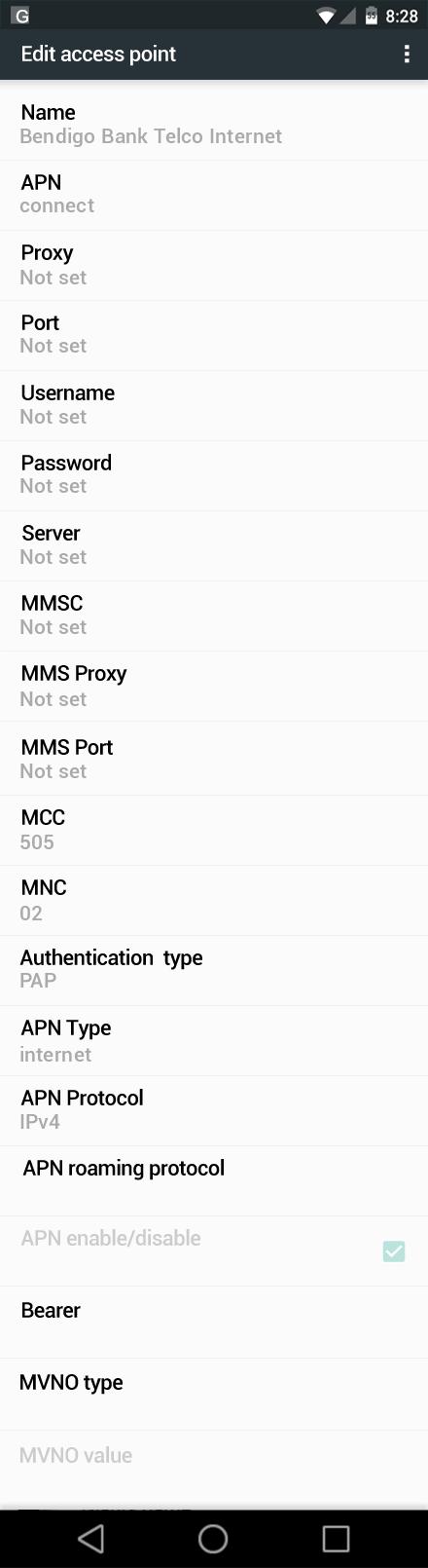 Bendigo Bank Telco Internet APN settings for Android Marshmallow screenshot