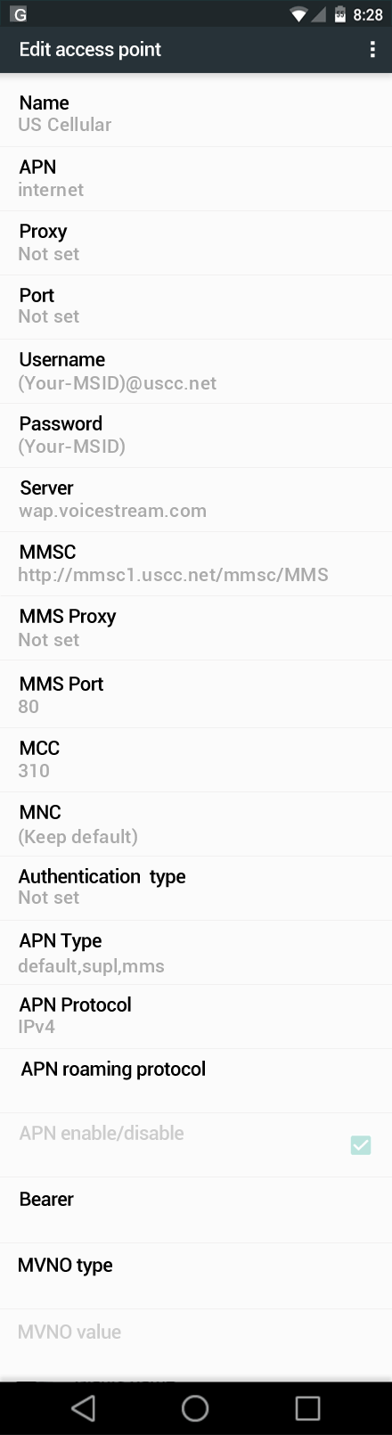 US Cellular  APN settings for Android Marshmallow screenshot