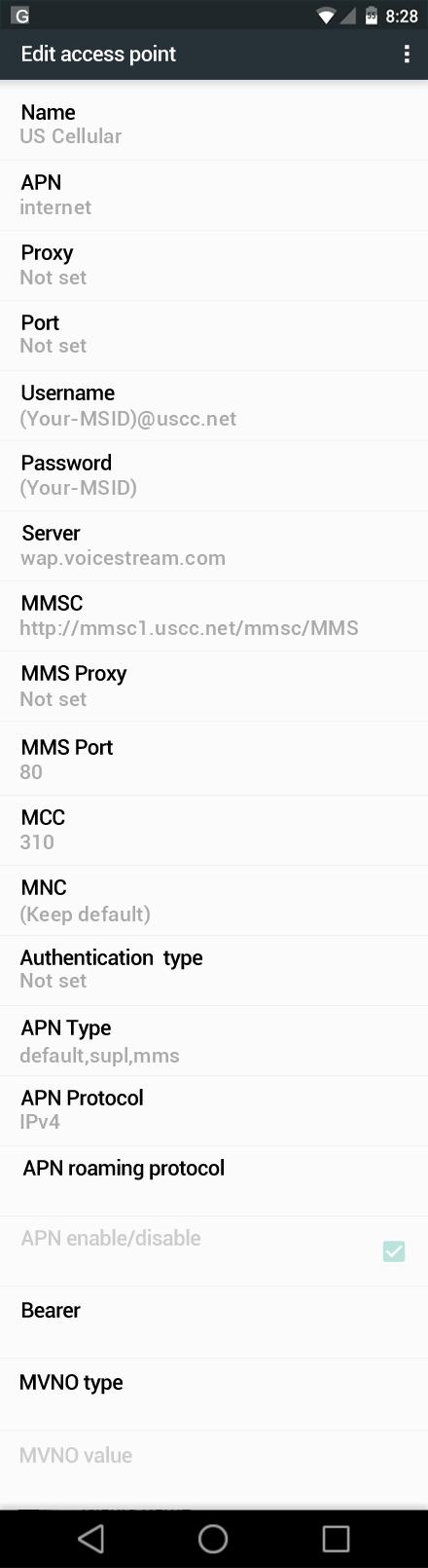 US Cellular  APN settings for Android Marshmallow screenshot
