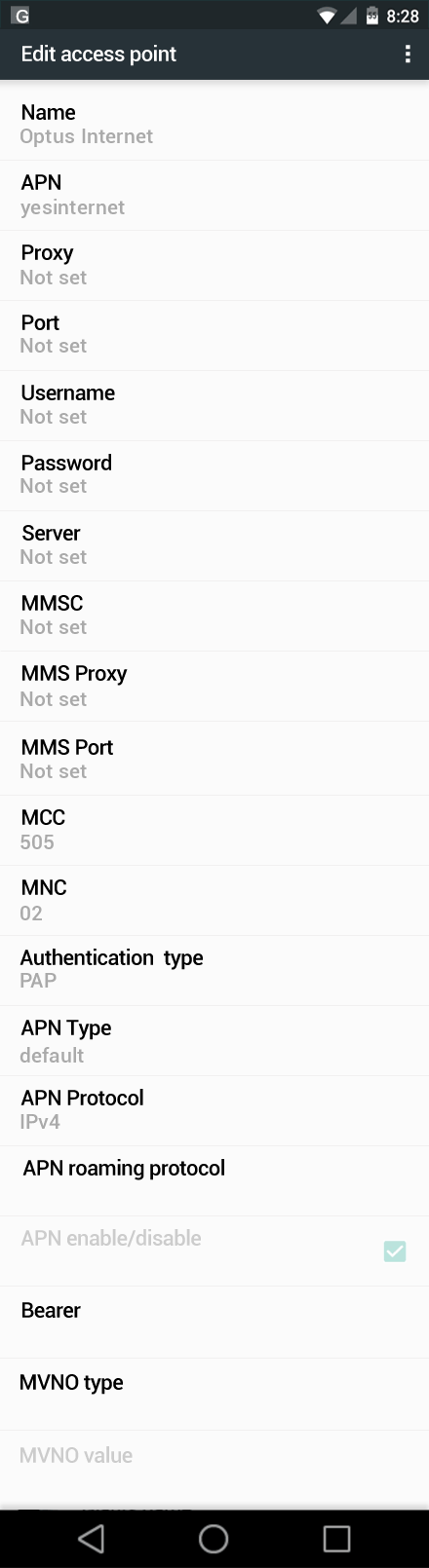 Optus Internet APN settings for Android Marshmallow screenshot