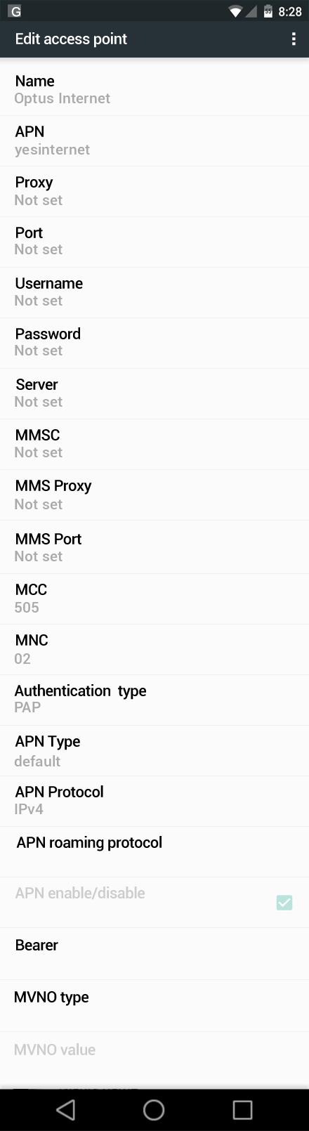 Optus Internet APN settings for Android Nougat screenshot
