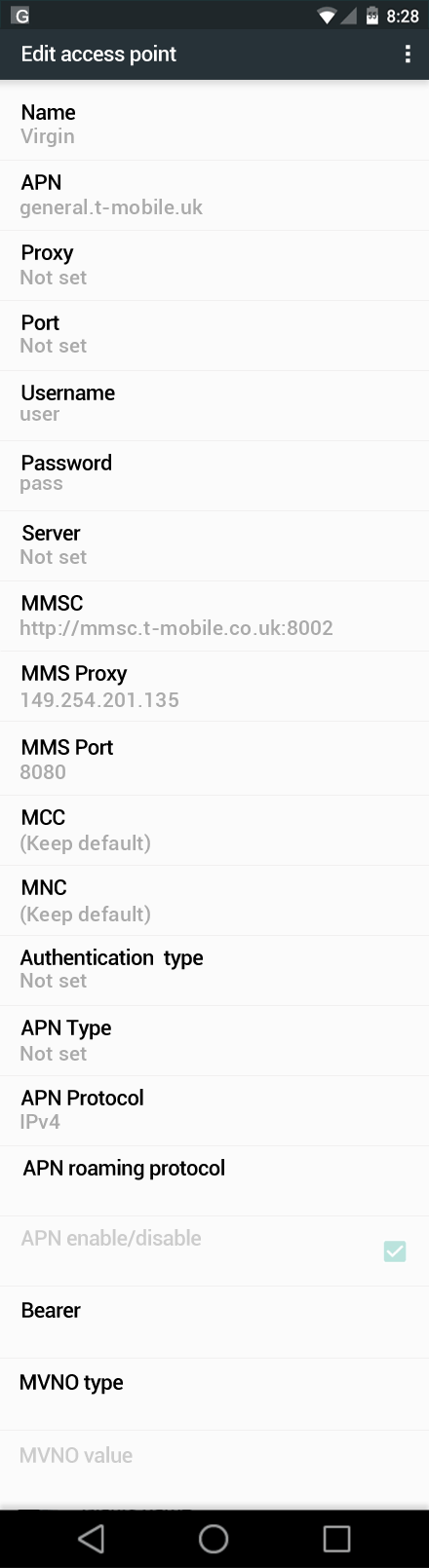 Virgin  APN settings for Android Marshmallow screenshot
