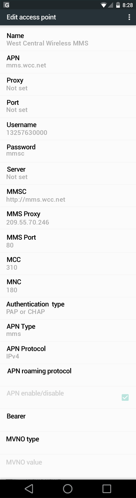 West Central Wireless MMS APN settings for Android Marshmallow screenshot