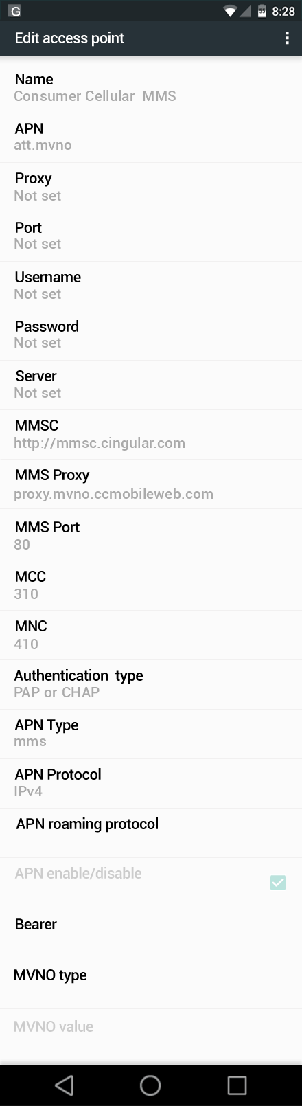Consumer Cellular  MMS APN settings for Android Nougat screenshot