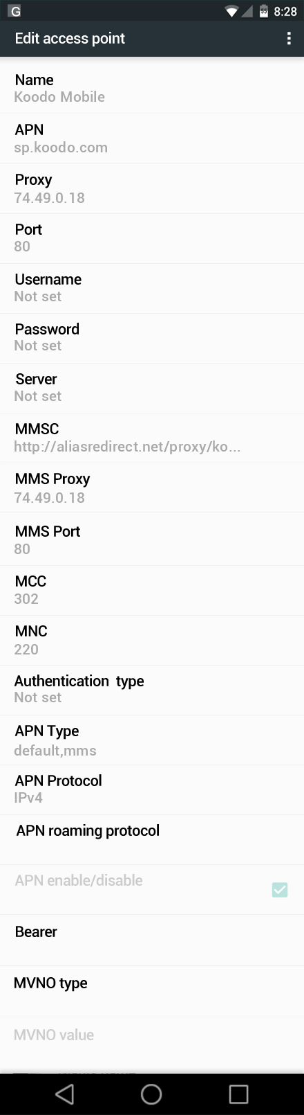 Koodo Mobile  APN settings for Android Marshmallow screenshot