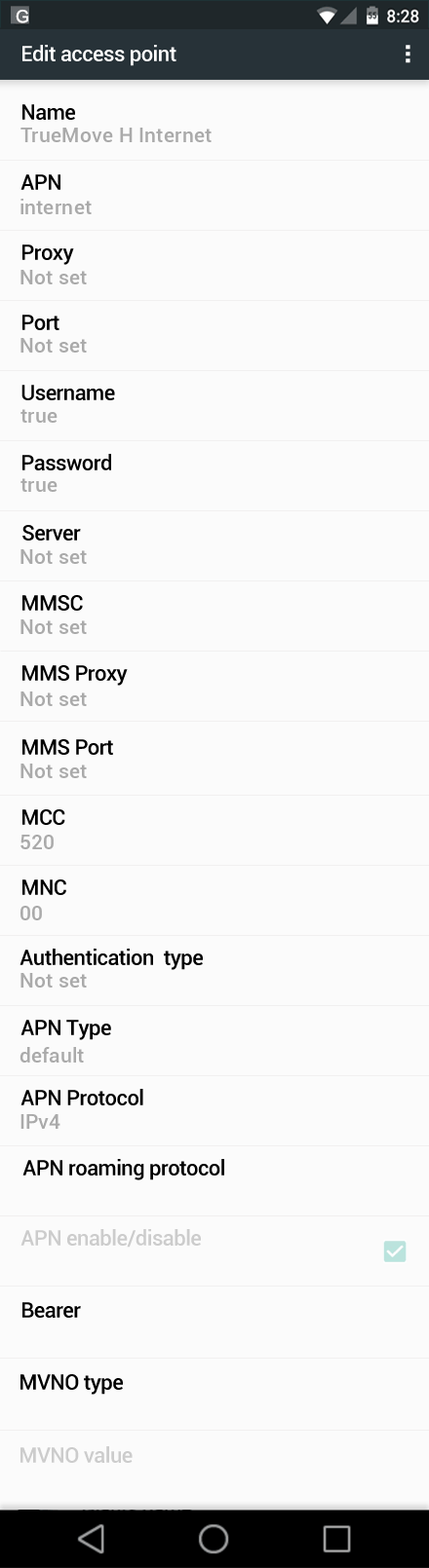 TrueMove H Internet APN settings for Android Marshmallow screenshot