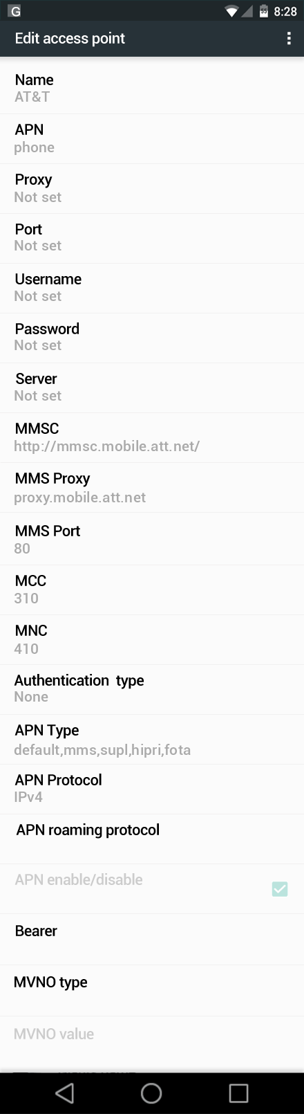 AT&T  APN settings for Android Nougat screenshot