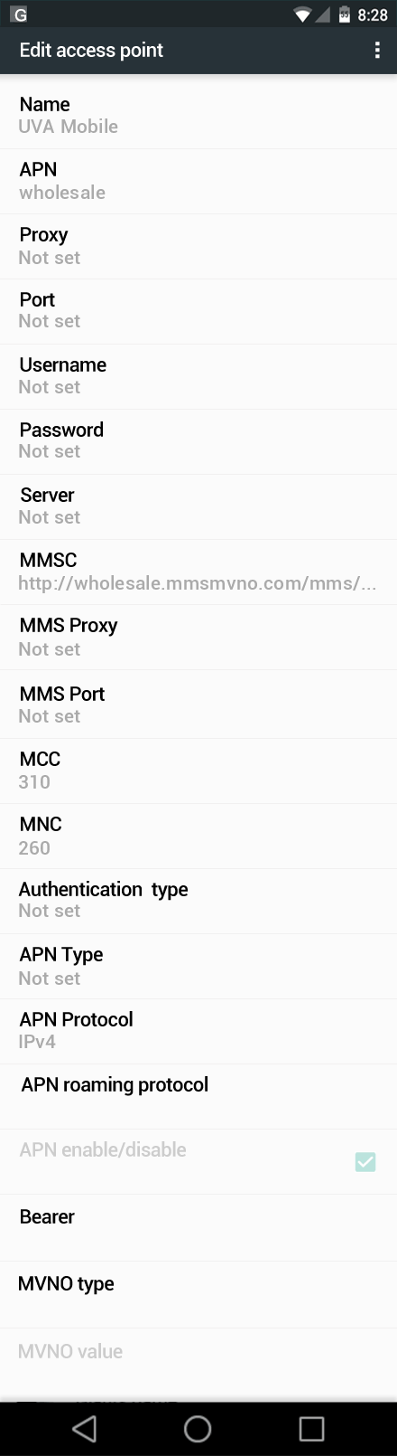 UVA Mobile  APN settings for Android Nougat screenshot