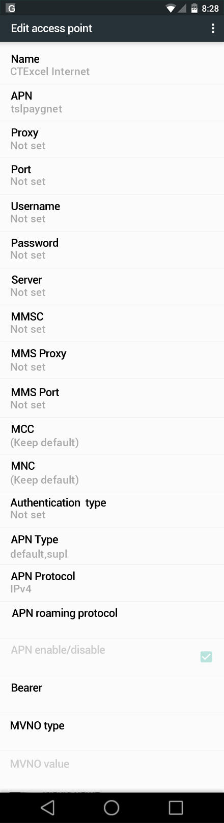 CTExcel Internet APN settings for Android Nougat screenshot