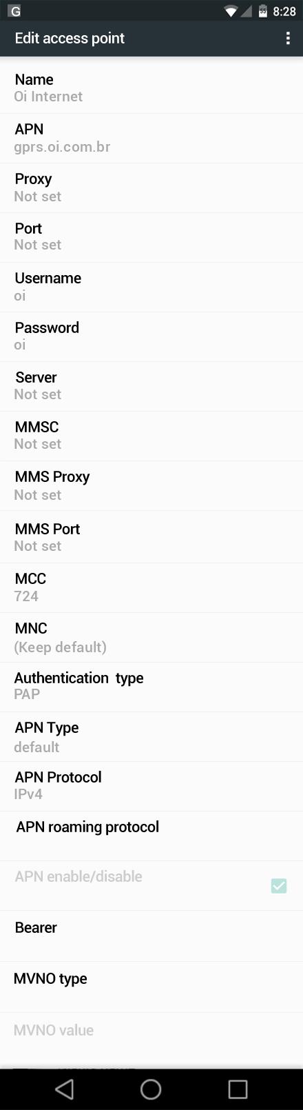 Oi Internet APN settings for Android Nougat screenshot