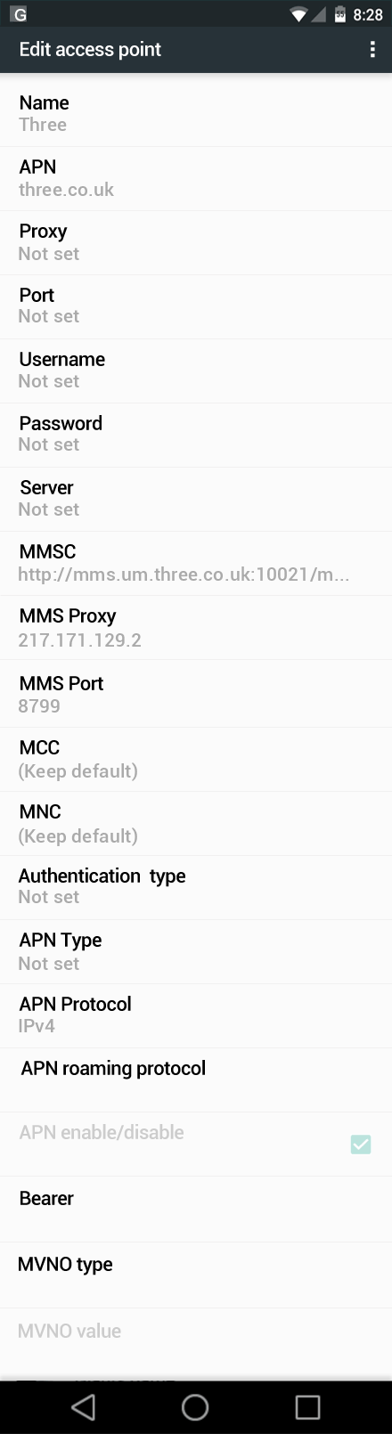 Three  APN settings for Android Nougat screenshot