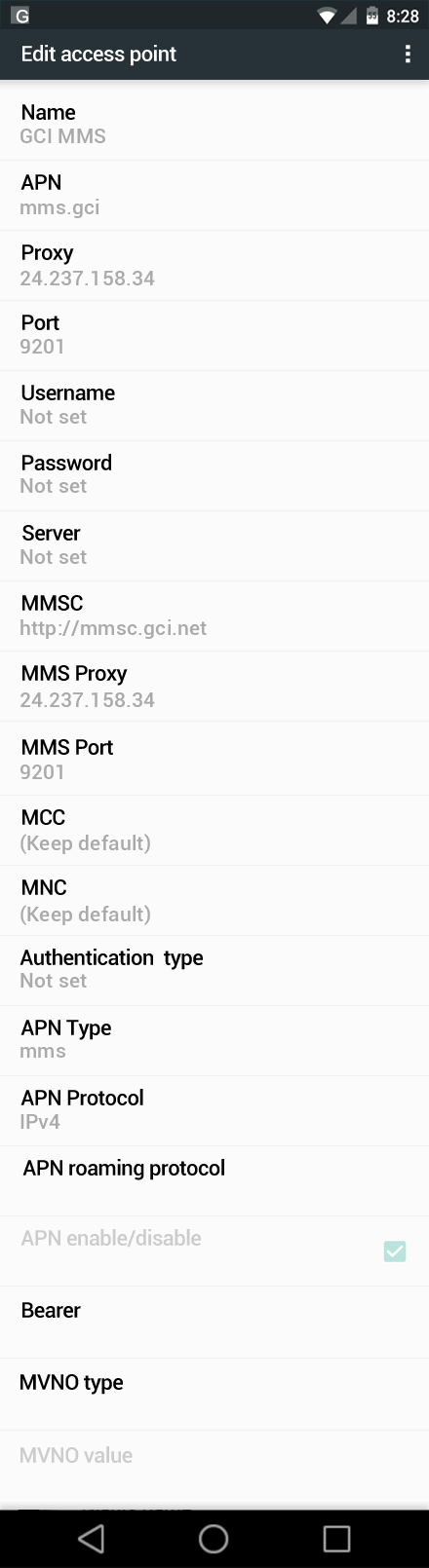 GCI MMS APN settings for Android Marshmallow screenshot