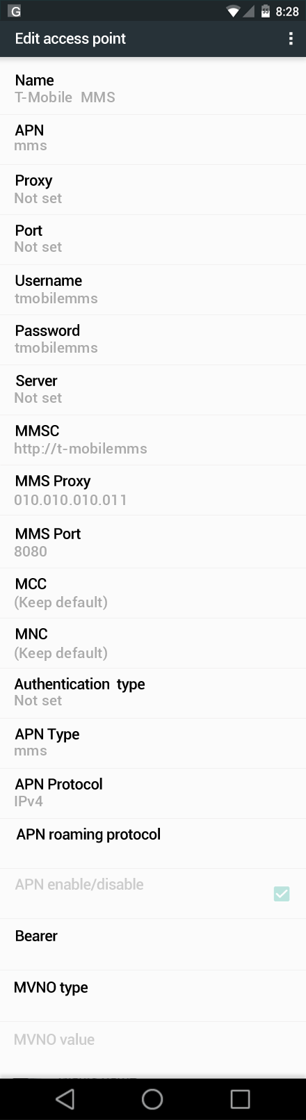 T-Mobile  MMS APN settings for Android Nougat screenshot