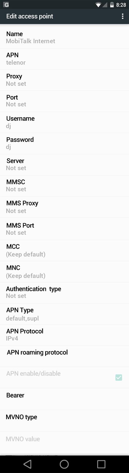 MobiTalk Internet APN settings for Android Nougat screenshot