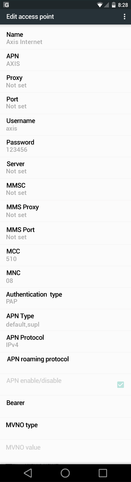 Axis Internet APN settings for Android Marshmallow screenshot