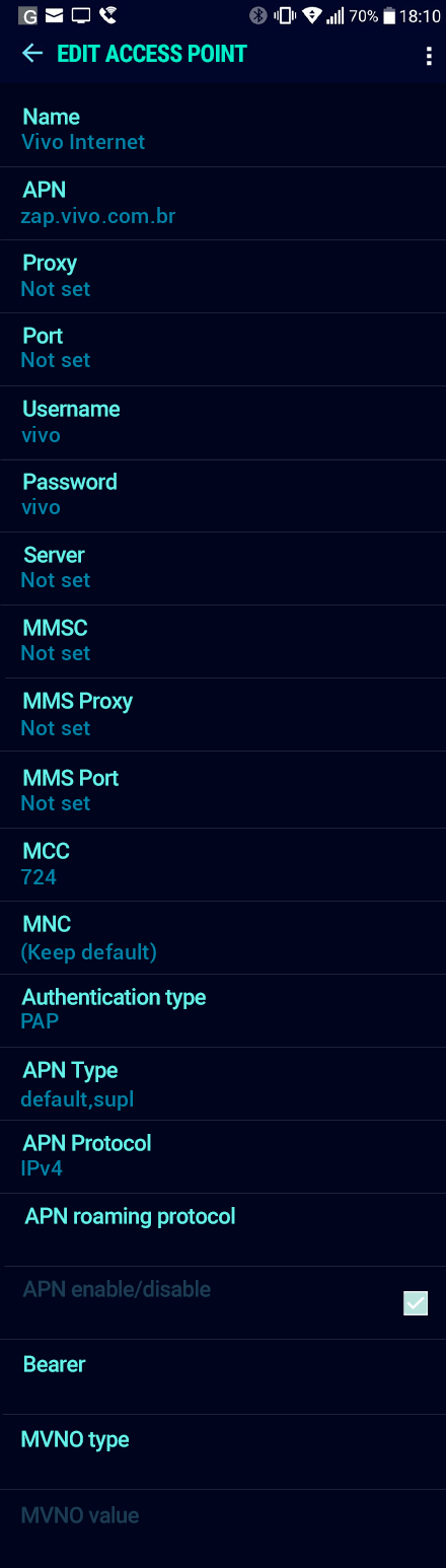 Vivo Internet APN settings for Android Nougat screenshot