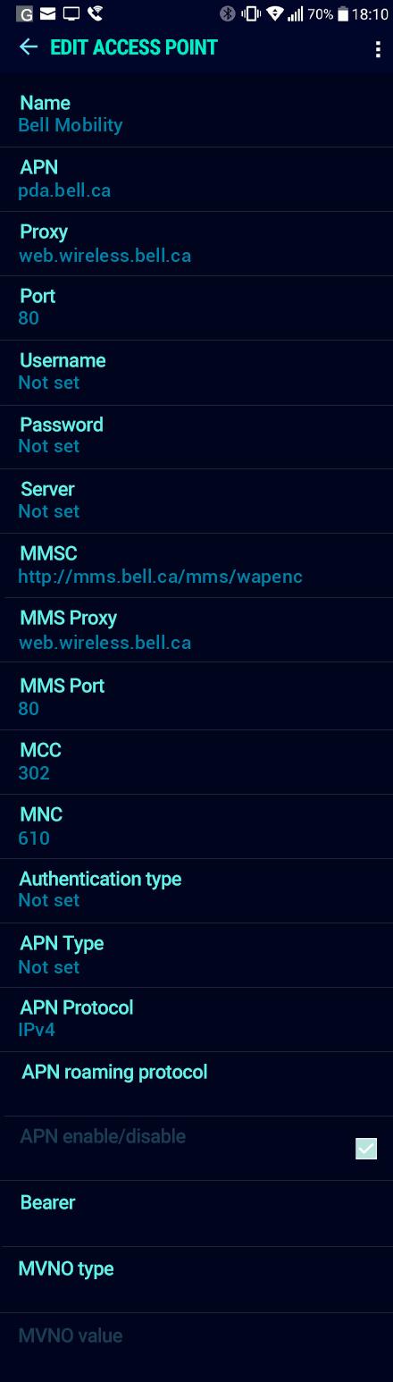 Bell Mobility  APN settings for Android Nougat screenshot