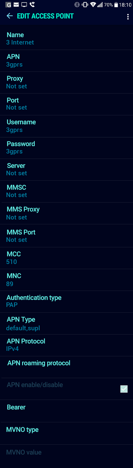 3 Internet APN settings for Android Nougat screenshot