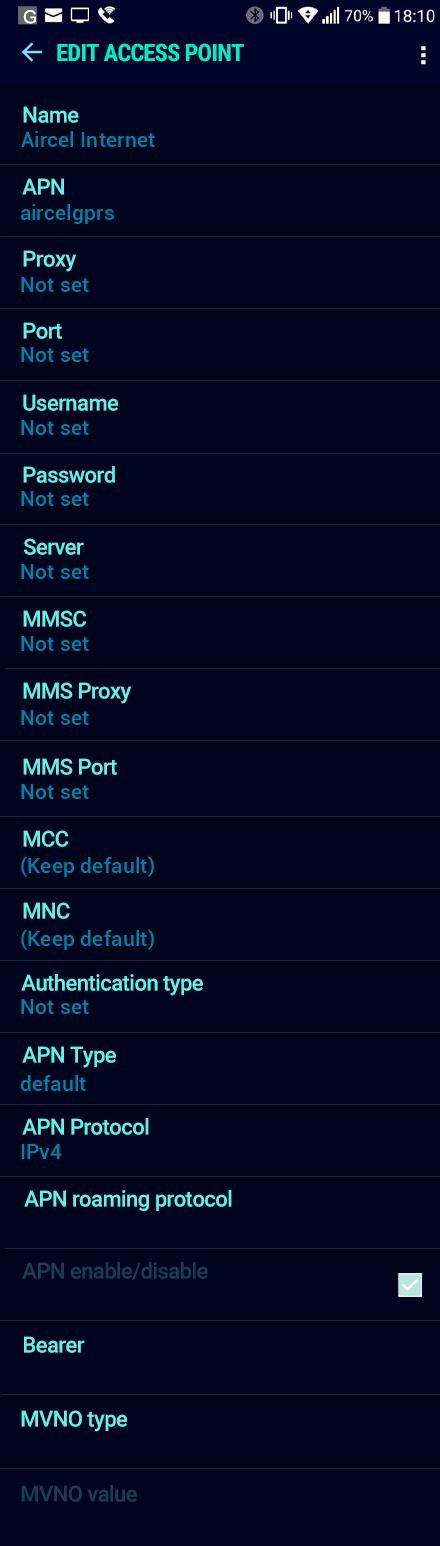 Aircel Internet APN settings for Android Nougat screenshot