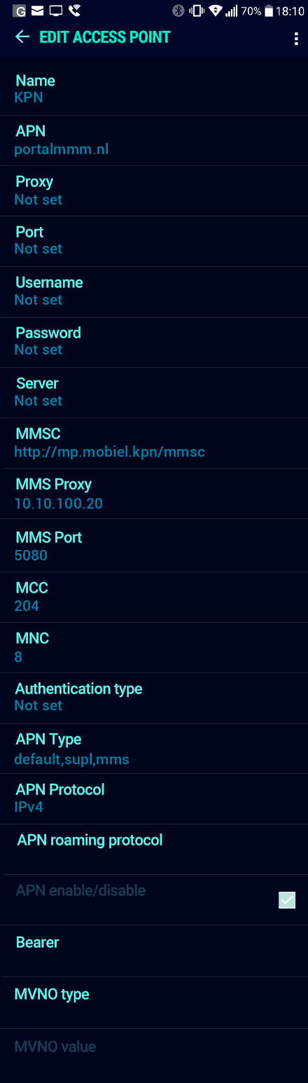 KPN  APN settings for Android Nougat screenshot
