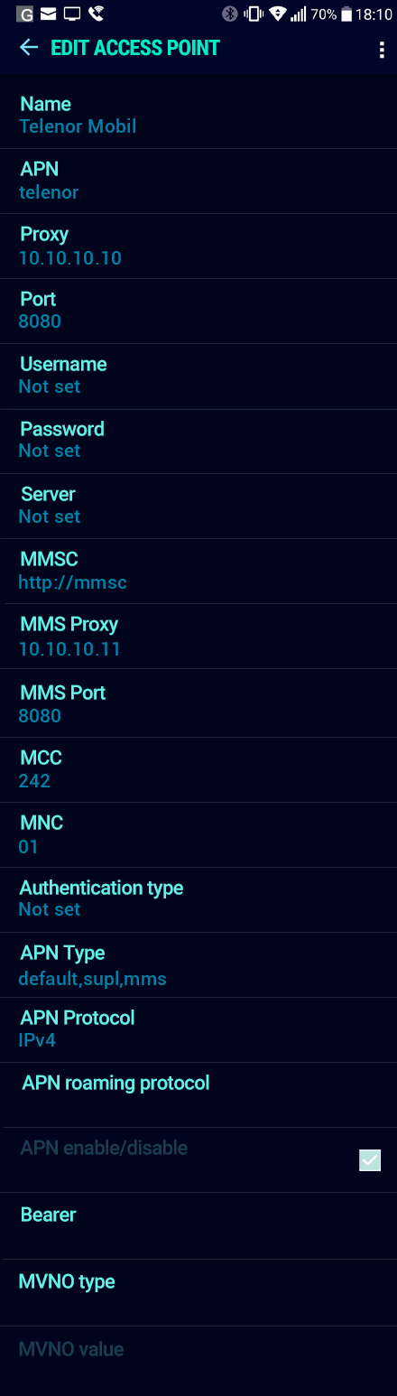 Telenor Mobil  APN settings for Android Nougat screenshot