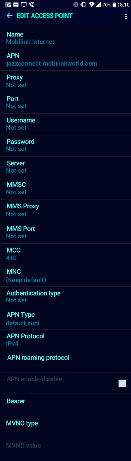 Mobilink Internet APN settings for Android Nougat screenshot