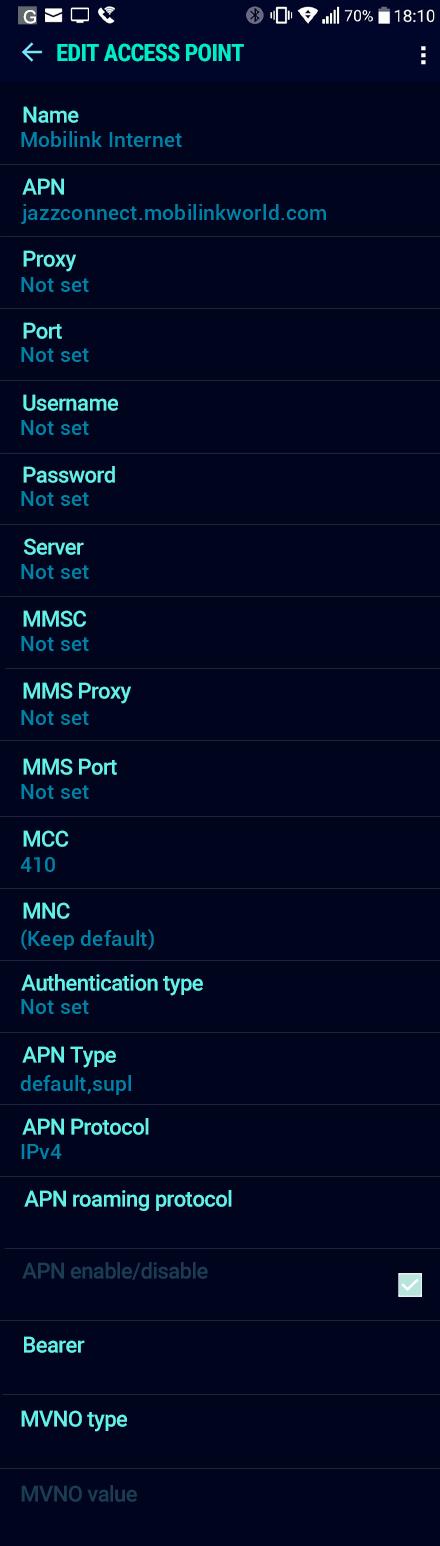 Mobilink Internet APN settings for Android Nougat screenshot