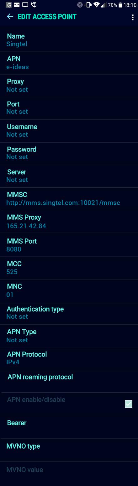 Singtel  APN settings for Android Nougat screenshot