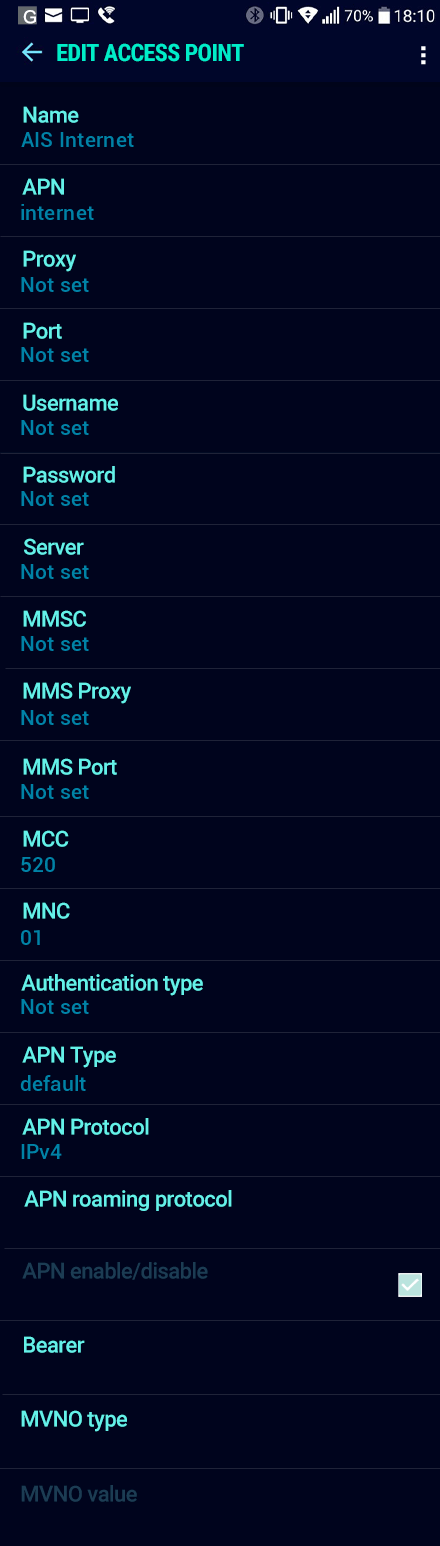 AIS Internet APN settings for Android Nougat screenshot
