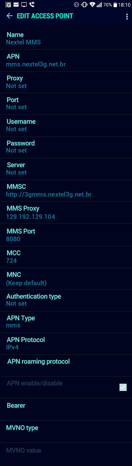 Nextel MMS APN settings for Android Nougat screenshot