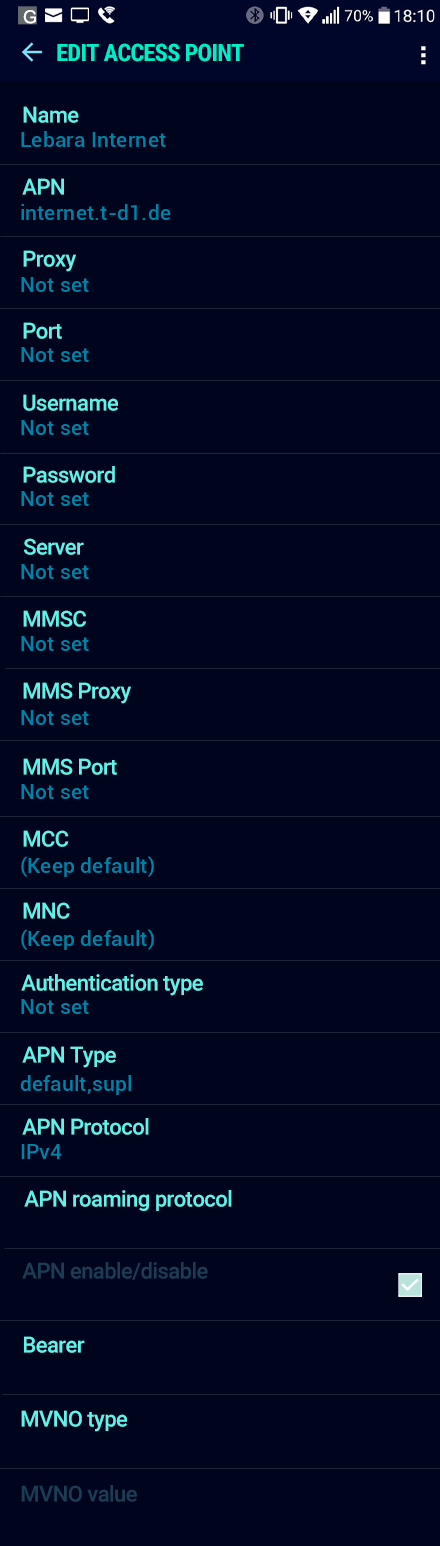 Lebara Internet APN settings for Android Nougat screenshot