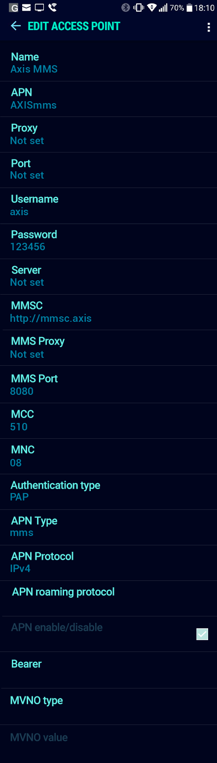 Axis MMS APN settings for Android Nougat screenshot