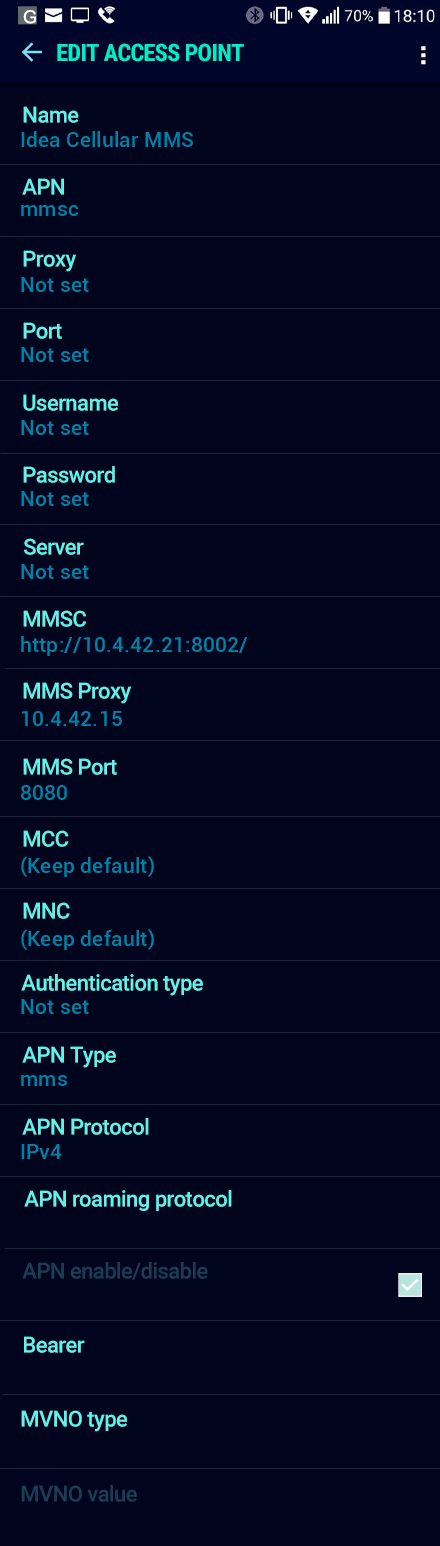Idea Cellular MMS APN settings for Android Nougat screenshot