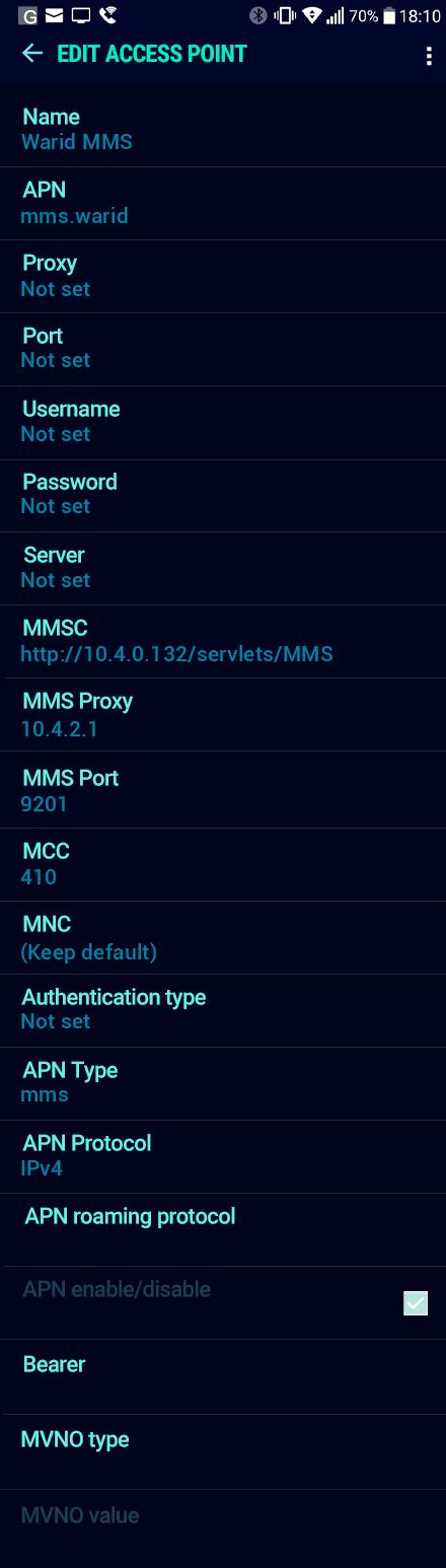 Warid MMS APN settings for Android Nougat screenshot