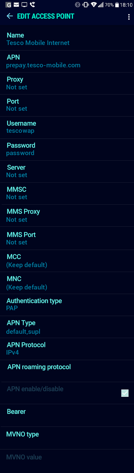 Tesco Mobile Internet APN settings for Android Nougat screenshot