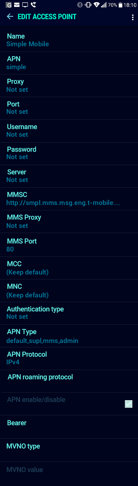 Simple Mobile  APN settings for Android Nougat screenshot