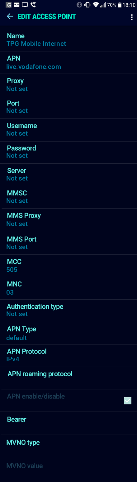 TPG Mobile Internet APN settings for Android Nougat screenshot