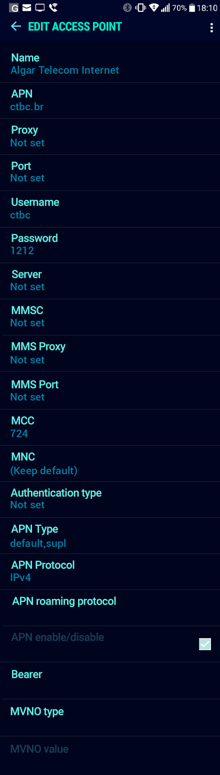Algar Telecom Internet APN settings for Android Nougat screenshot