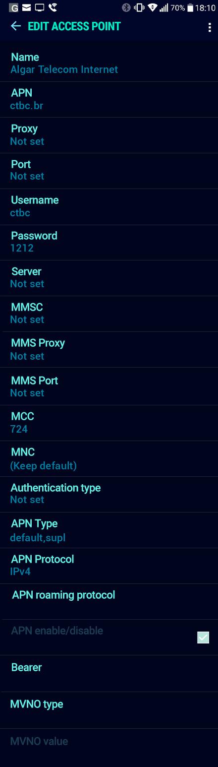Algar Telecom Internet APN settings for Android Nougat screenshot